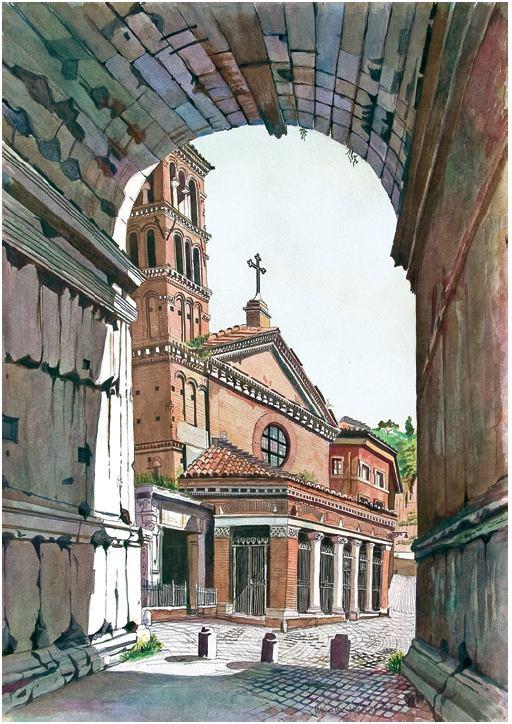 Roma – San Giorgio al Velabro: veduta dall'Arco di Giano