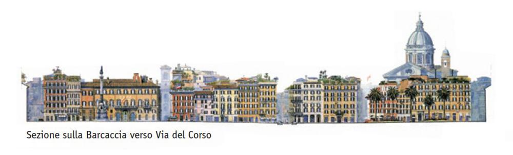 Piazza di Spagna – Barcaccia verso Via del Corso